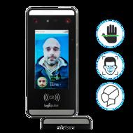 Leitor de acessos Multi-biométrico com suporte / torre de balcão / secretária / torre pedestal, Terminal de acessos e/ou assiduidade com autenticação facial, autenticação por palma, cartão RFID e PIN.