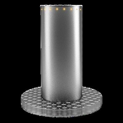 Pilarete eletromecânico robusto em aço-inox com design único adequado para impedir a passagem de trânsito e reserva de estacionamentos.