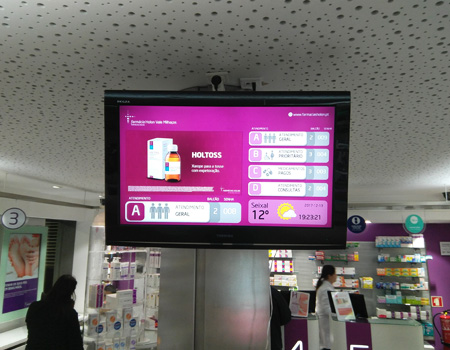 Multimedia Kiosk for Pharmacy, Waiting Queuing Management Pharmacy, Portugal, Angola, Mozambique